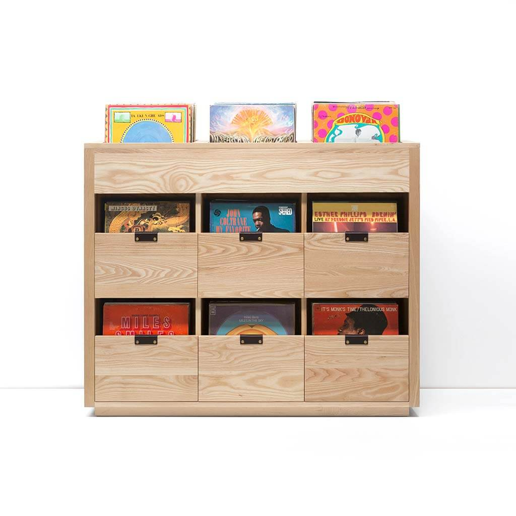 Dovetail Vinyl Storage Cabinet 3x2.5 displaying 810 records constructed with premium North American hardwoods. Includes light ash wood finish, soft-close under-mount drawers slides, and tanned leather handles.