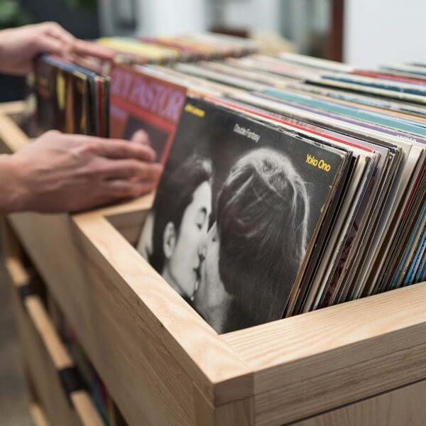 Dovetail vinyl record storage flip bin constructed with premium North American hardwoods.