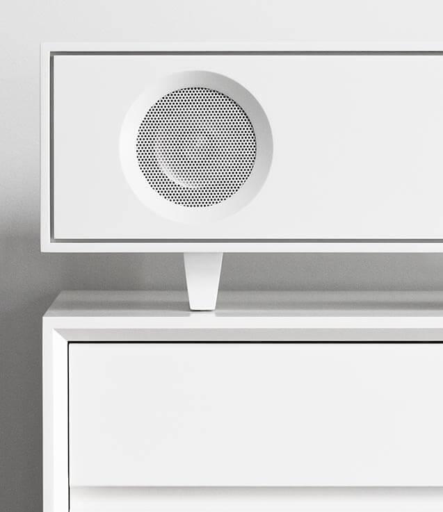 Tabletop Hifi Speaker on AERO LP Storage Cabinet
